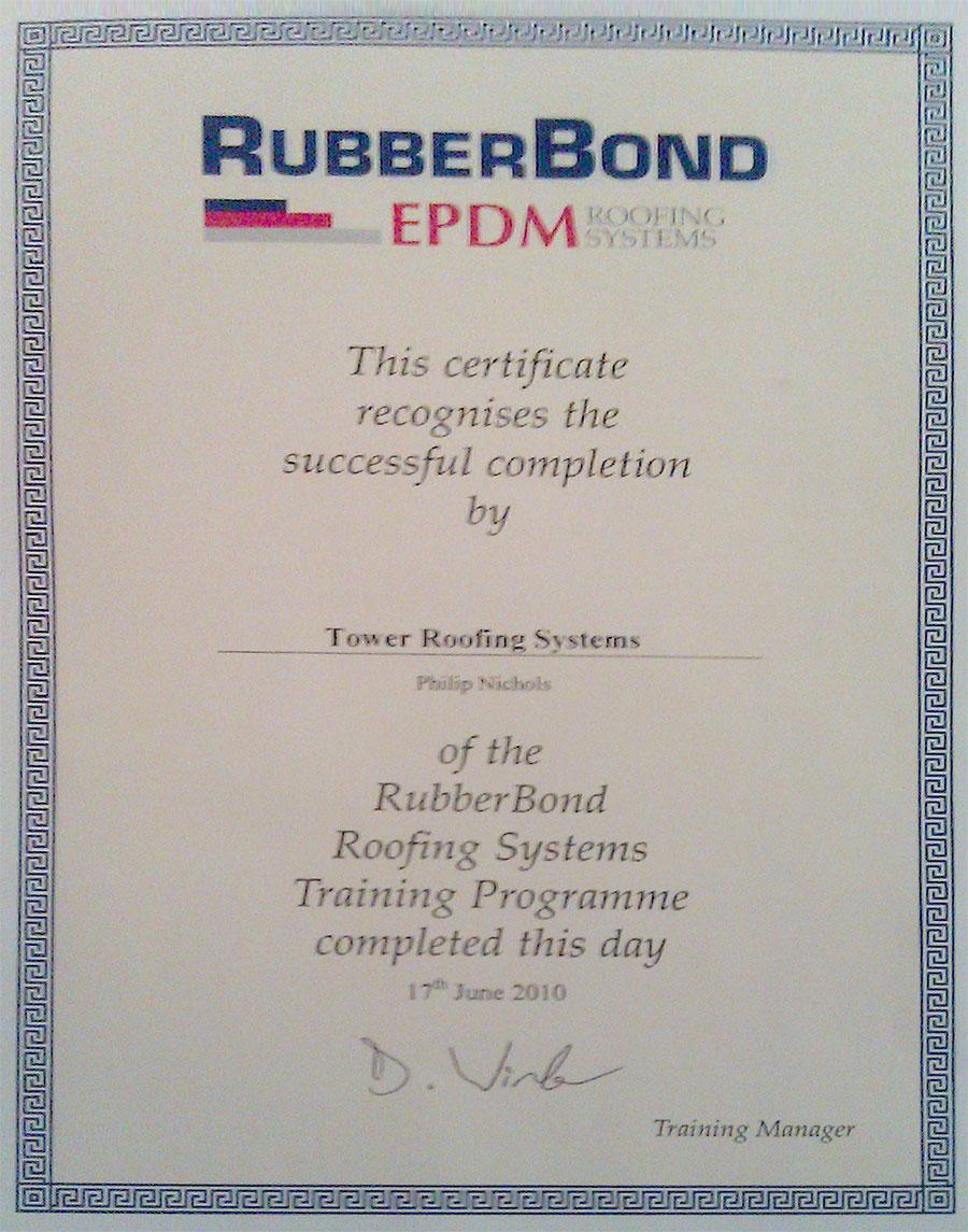 Certificate EPDM Rubberbond