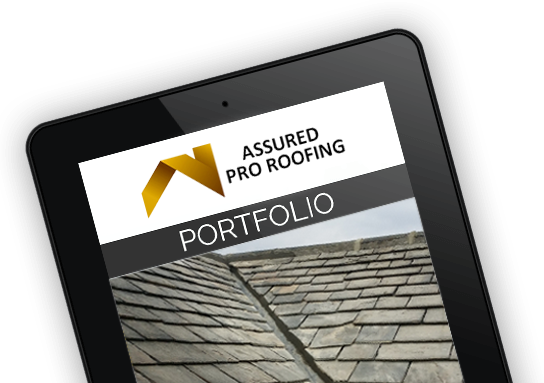Assured Pro Roofing Portfolio on iPad