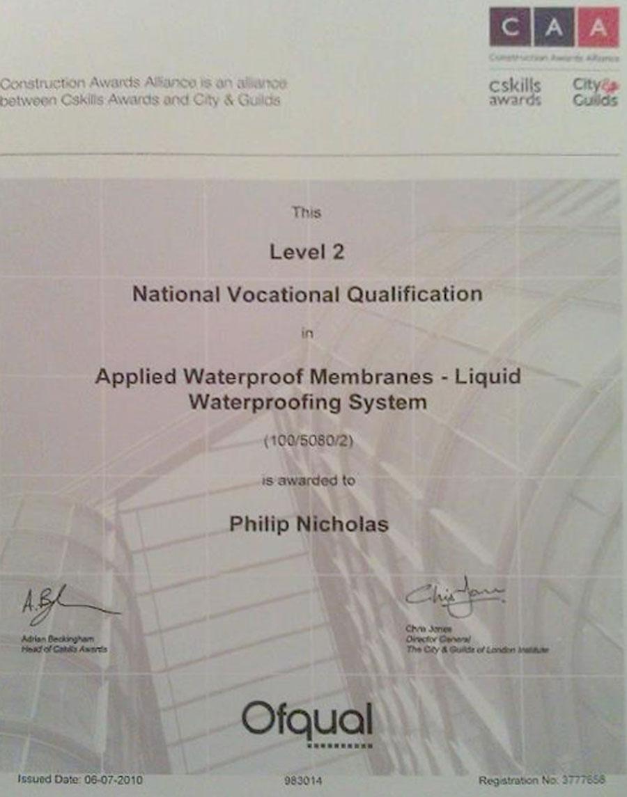 Certificate CCA NVQ Level 2