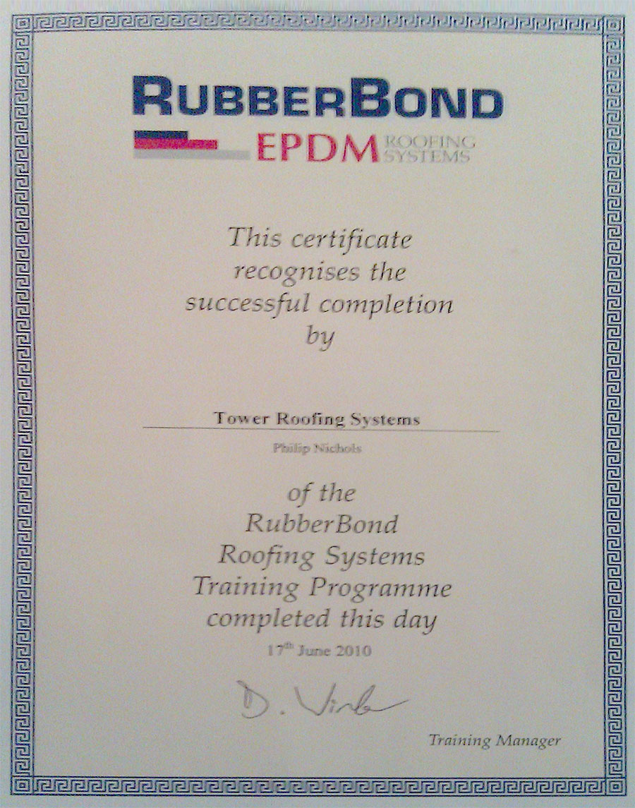 Certificate EPDM Rubberbond